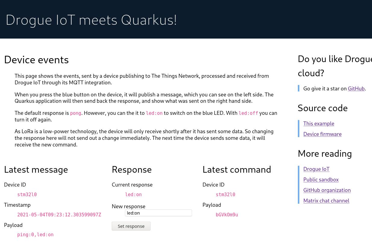 Screenshot of the Quarkus web frontend