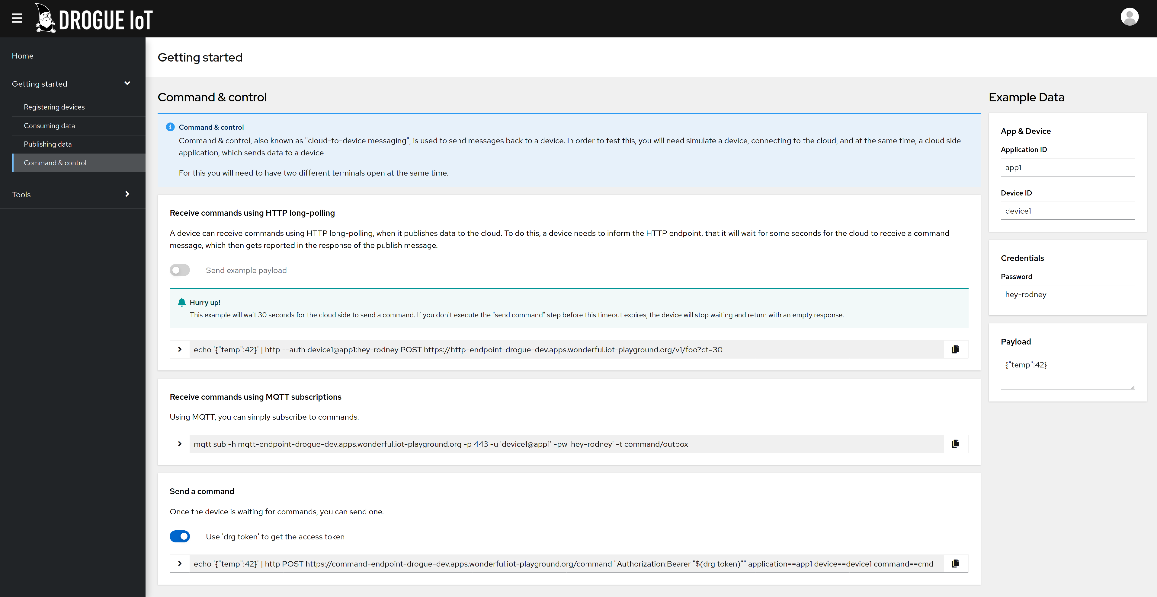 Screenshot of improved web console
